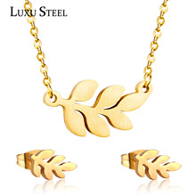 Exquisite Jewelry Sets For Women Girl 316L Stainless Steel Leaf Pendants Necklace Fashion Stud Earrings Party
