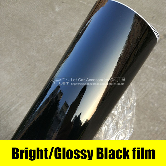 car styling bright Black Glossy Black Vinyl Car Decal Wrap Sticker Black Gloss Film Wrap Retail For HOOD Roof Motorcycle Scooter 600mmx1520mm glossy yellow vinyl auto car styling car and motorcycle sticker vinyl wrap film air release sticker decal sheet