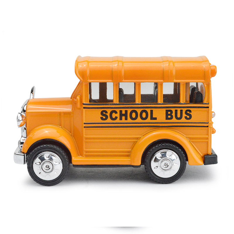 1:43 American school bus students Shuttle Back To school Bus Children Collection Music Car Toy Kids Gift Light Pull Back Bus