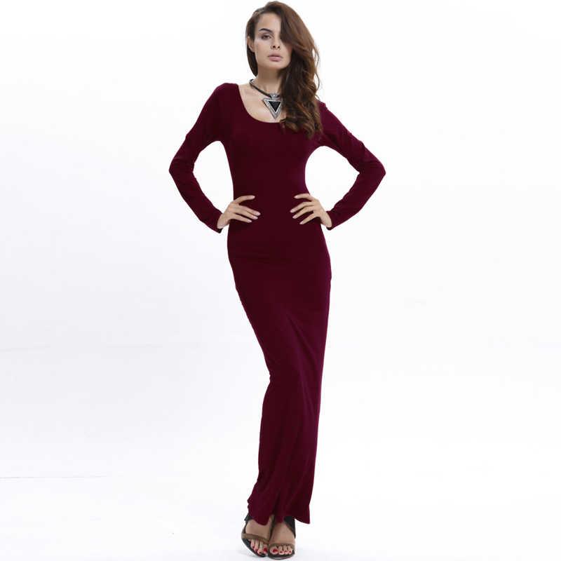 e2503e13a6b4 Autumn Long Sleeve O-neck Women Dresses Ankle Length Bodycon Long Maxi Dress  Sexy Black