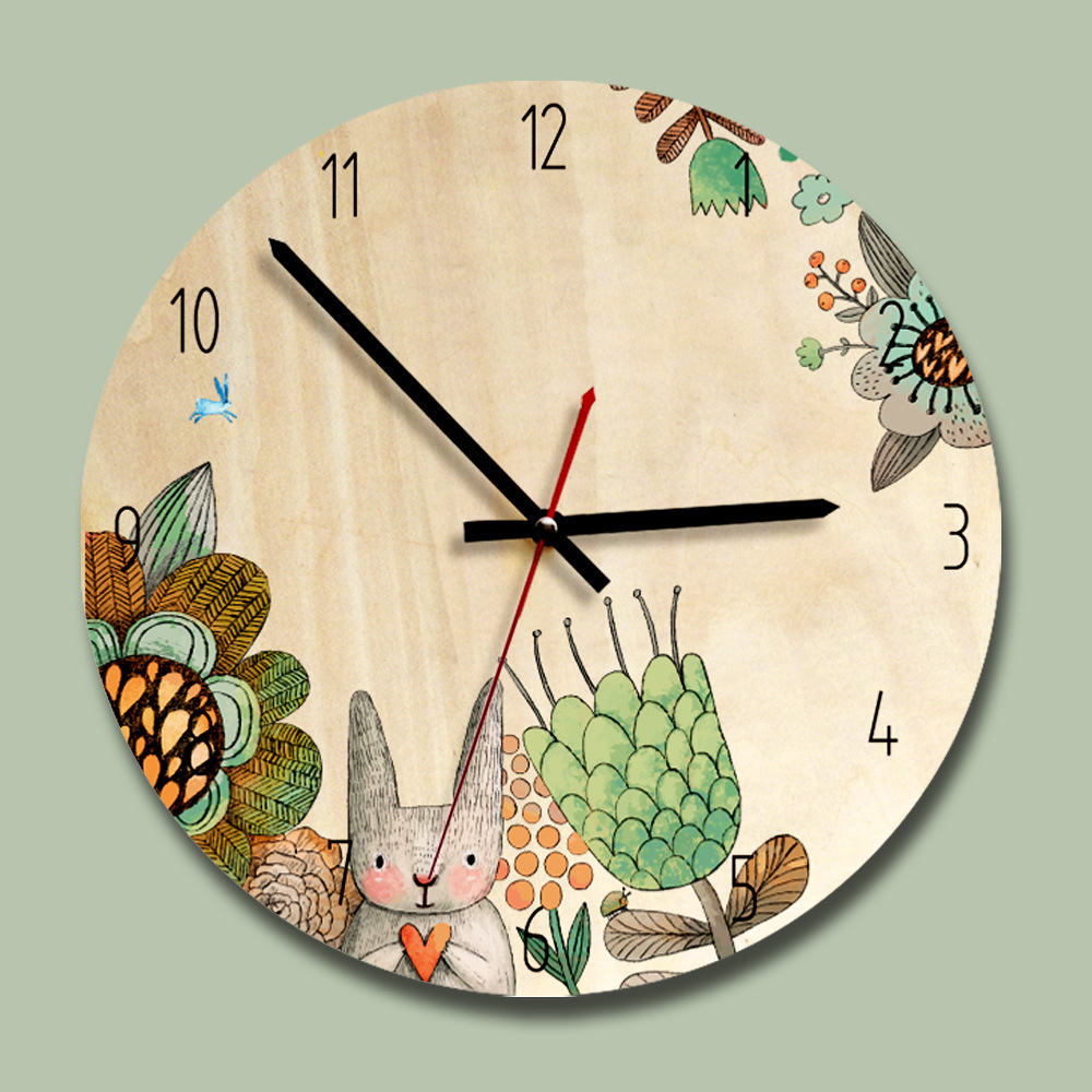 Wooden Ins Style Children Living Room Cartoon Silent Home Decor Wall Clocks Creative Hanging Clock Round Digital