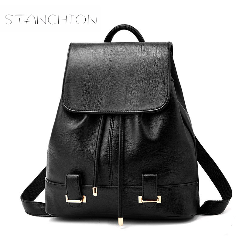 Backpack Faux Leather Women Zipper Hasp Daily Solid Sweet Shoulder Bag Female Wild Personality Soft Leather