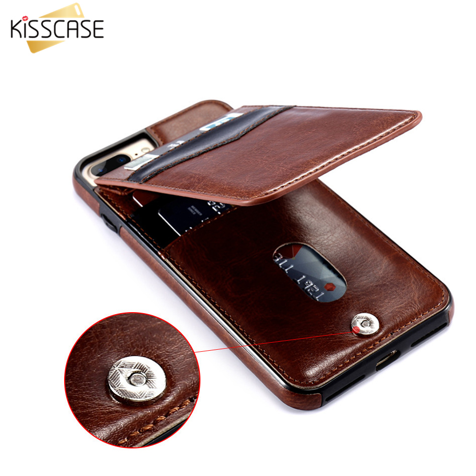 KISSCASE Leather Flip Case For iPhone 7 8 Plus Kickstand Case Card Cash Holder PU Vertical Cover For iPhone X 6 6S 7 Plus Cases