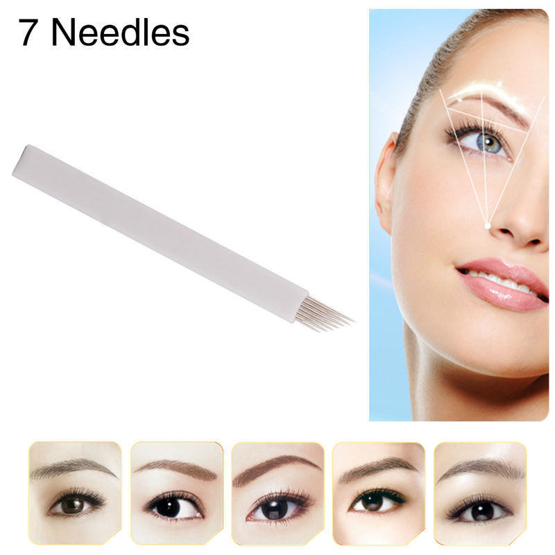 Free shipping 50Pcs 7-Prong flat Permanent Makeup Manual Needle Blades