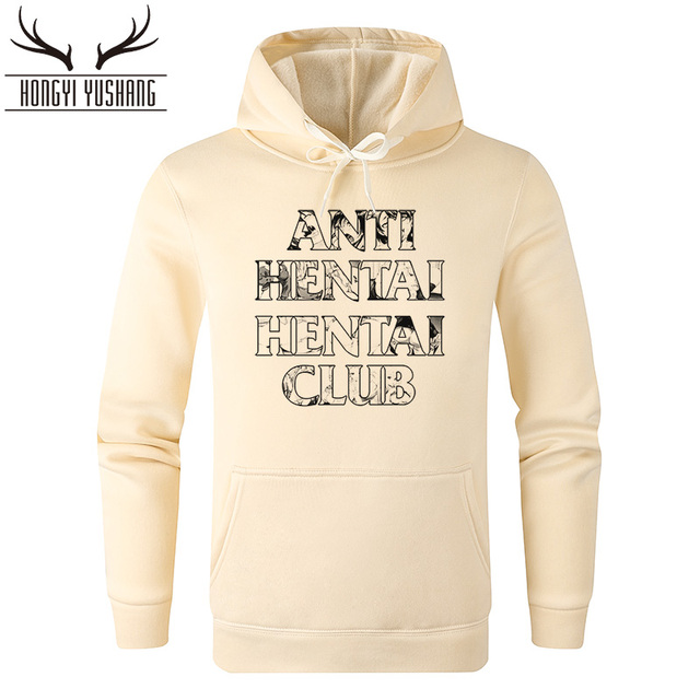 2018 Creative Design Letters Anti Hentai Hentai Club Ahegao Hoodies Men Pullover Fleece Sweatshirt Unisex Hoodie Male Hoody W68
