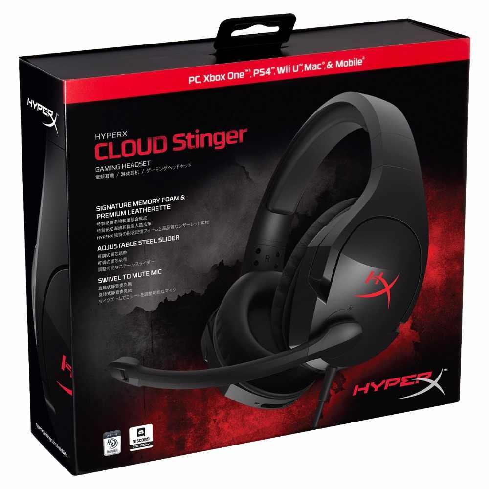 Najnowszy KINGSTON HyperX Cloud Stinger pałąk lekki komfort podwójny dźwięk zestaw słuchawkowy do gier regulowana głośność z mikrofonem