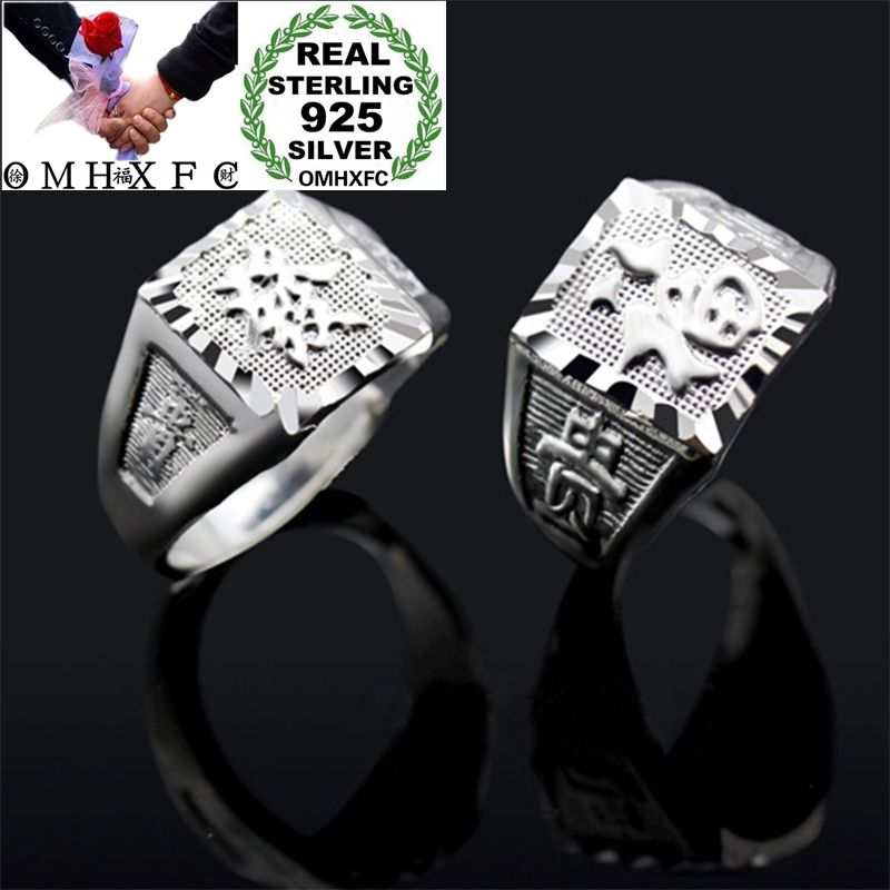 OMHXFC Wholesale European Fashion Man Male Party Birthday Wedding Gift Chinese FU Word Resizable <font><b>925</b></font> <font><b>Sterling</b></font> <font><b>Silver</b></font> <font><b>Ring</b></font> RI164 image