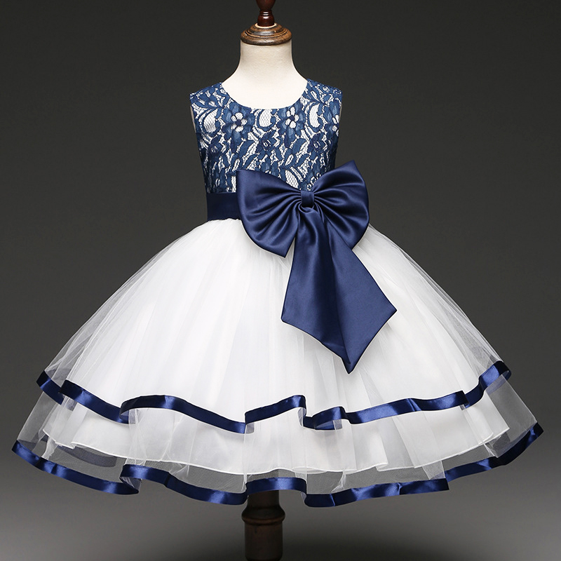 Girls  sleeveless  Princess white  Party Dress   bow  Lace  wedding dress girl knee-length blue dress