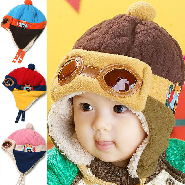 Cute Baby Winter Hat Infant Pilot Cap Toddlers Cool Baby Boys Girls  Children Winter Warm Kids Knitted Hats Cap For 0-48 Month 7a67275ccc18