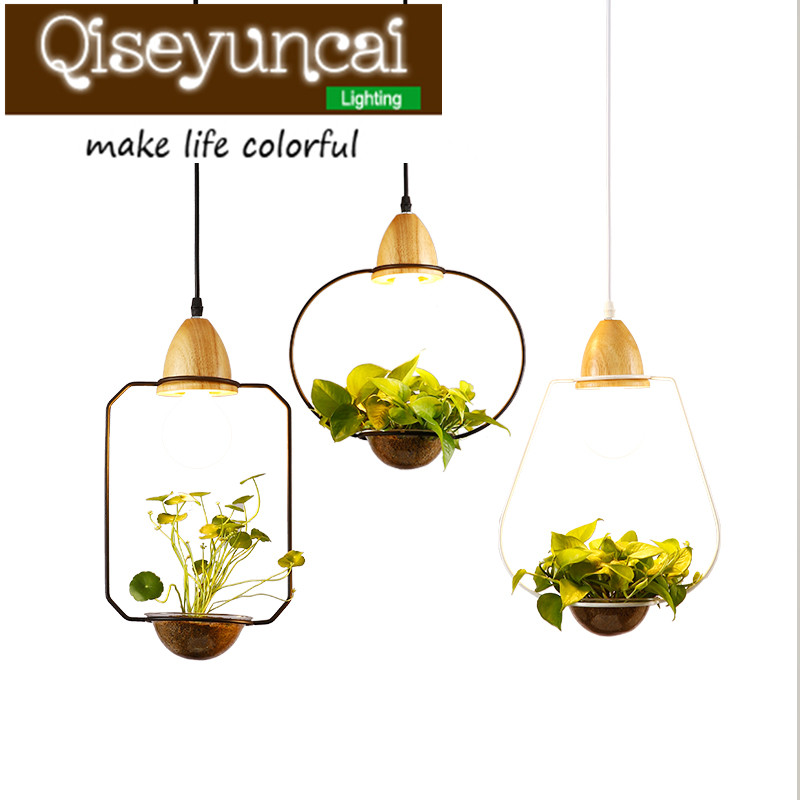 Qiseyuncai Creative personality, simplified pastoral restaurant, bedroom cafe, retro iron, glass potted plant, ceiling lamp. social policy simplified