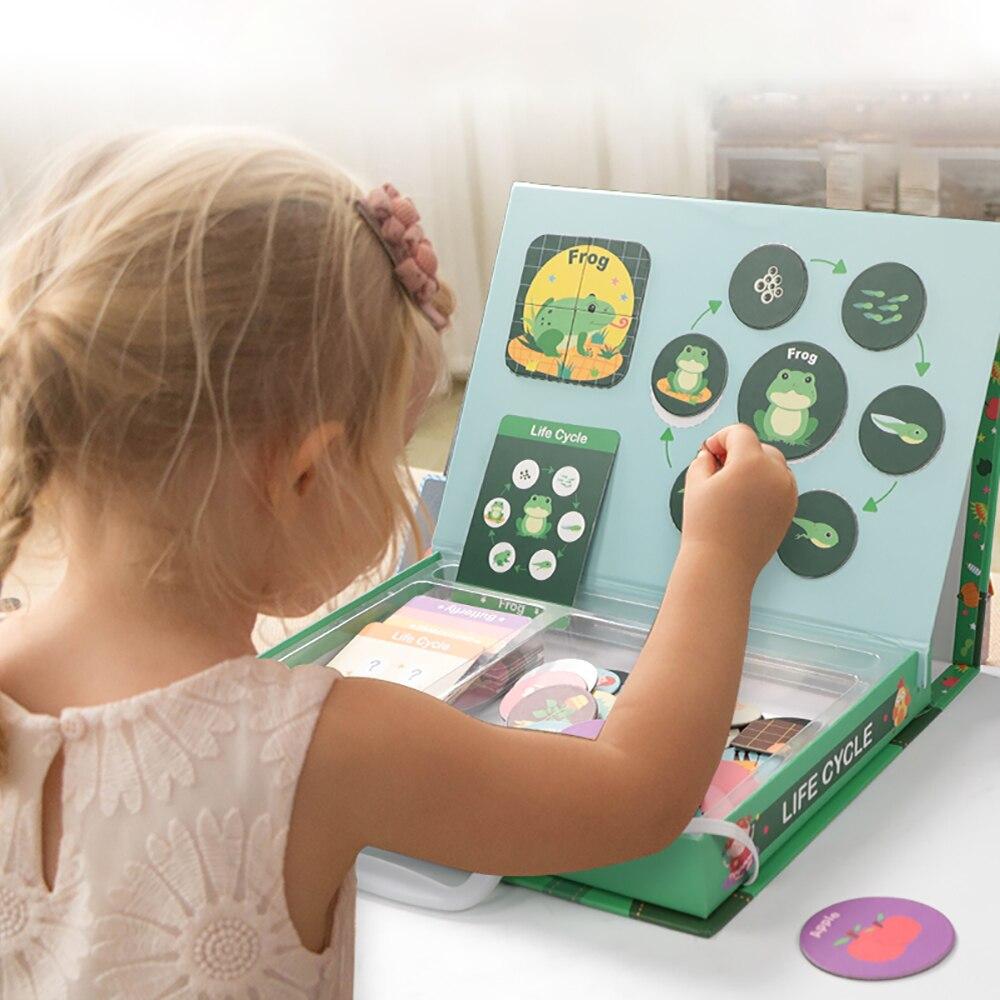 Magnetische Montessori Puzzle Schiefen Lebensdauer Zyklus von Tier Menschliches Wachstum Puzzles Pädagogisches spielzeug Frühen Kindheit Bildung Kinder Spielzeug-in Puzzles aus Spielzeug und Hobbys bei  Gruppe 3