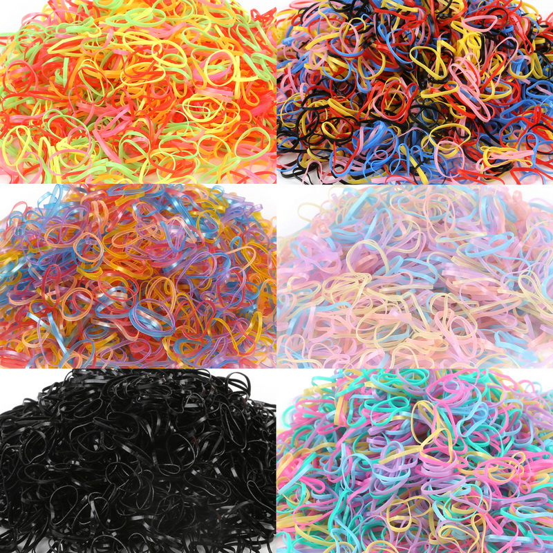Tie Hair-Holders Rubber-Bands Braids Elastics-Girl Candy-Color Baby Child 1000pcs/Bag