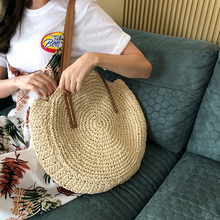 New Women Straw Handbag Fashion Female Crossbody Bags For L Handmade woven Round Rattan Shoulder Bags bolsa feminina