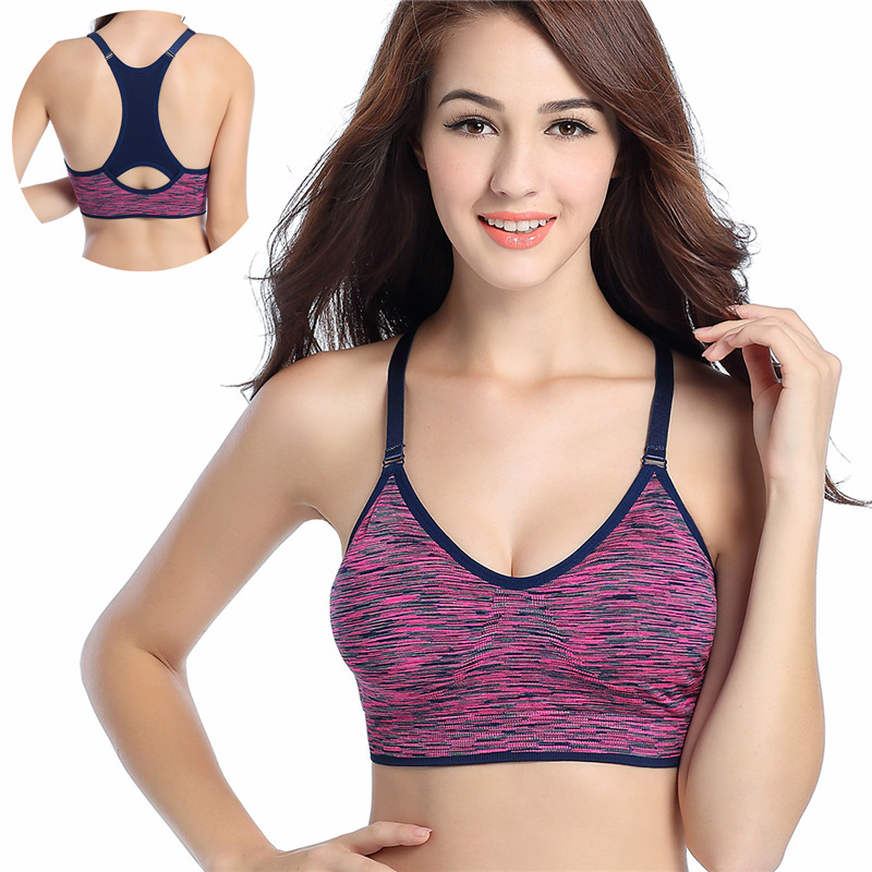Women Fitness Yoga Sports Bra For Running Gym Adjustable Spaghetti Straps Padded Top Seamless Top Athletic Vest S M L 1