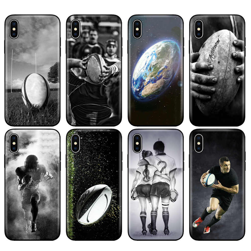 Zwart tpu case voor iphone 5 5s se 6 6s 7 8 plus x 10 case silicone cover voor iphone XR XS MAX case Rugby bal Sport