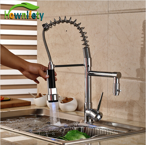 LED Lights Chrome Polished Pull Down Spray Kitchen Sink Faucet Swivel Spout Mixer Tap