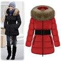 New Women Coat Parka Fashion Winter Warm Down Jacket Fur Collar Overcoat With Belt Thicken Slim Female Outerwear Clothing HZ32