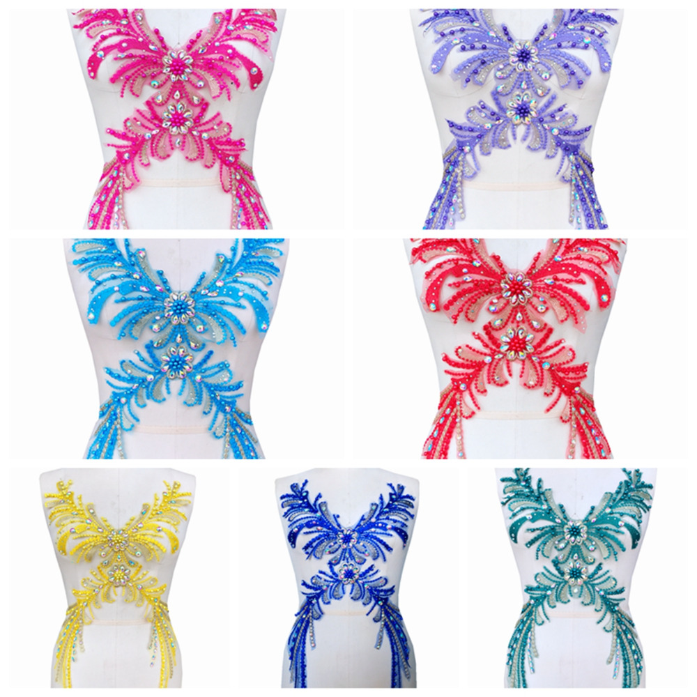 1f7f9404bee7 Coser en diamantes de imitación cuentas Apliques de encaje multicolor trim  parches para vestido DIY Accesorios
