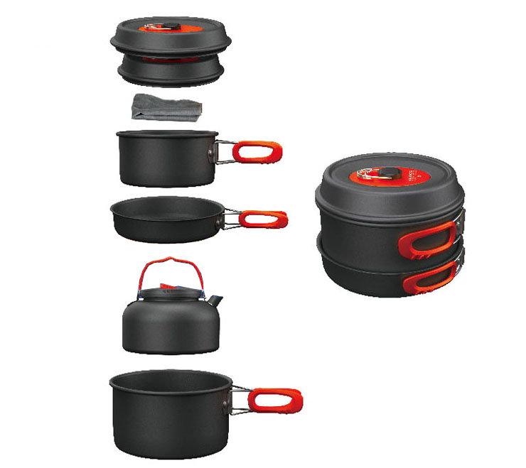 Alocs 3-4 Person Cooking Pot Camping Pan Kettle Outdoor Cookware Pots Sets CW-C06S чайник походный alocs love road off cw k04 alocs cw k04 pro