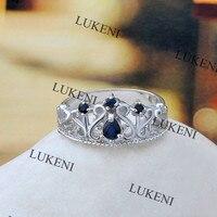 Creato Blue Sapphire Engagement Halo Anello 925 Anelli D'argento Per Le Donne 2017 Fine Jewelry