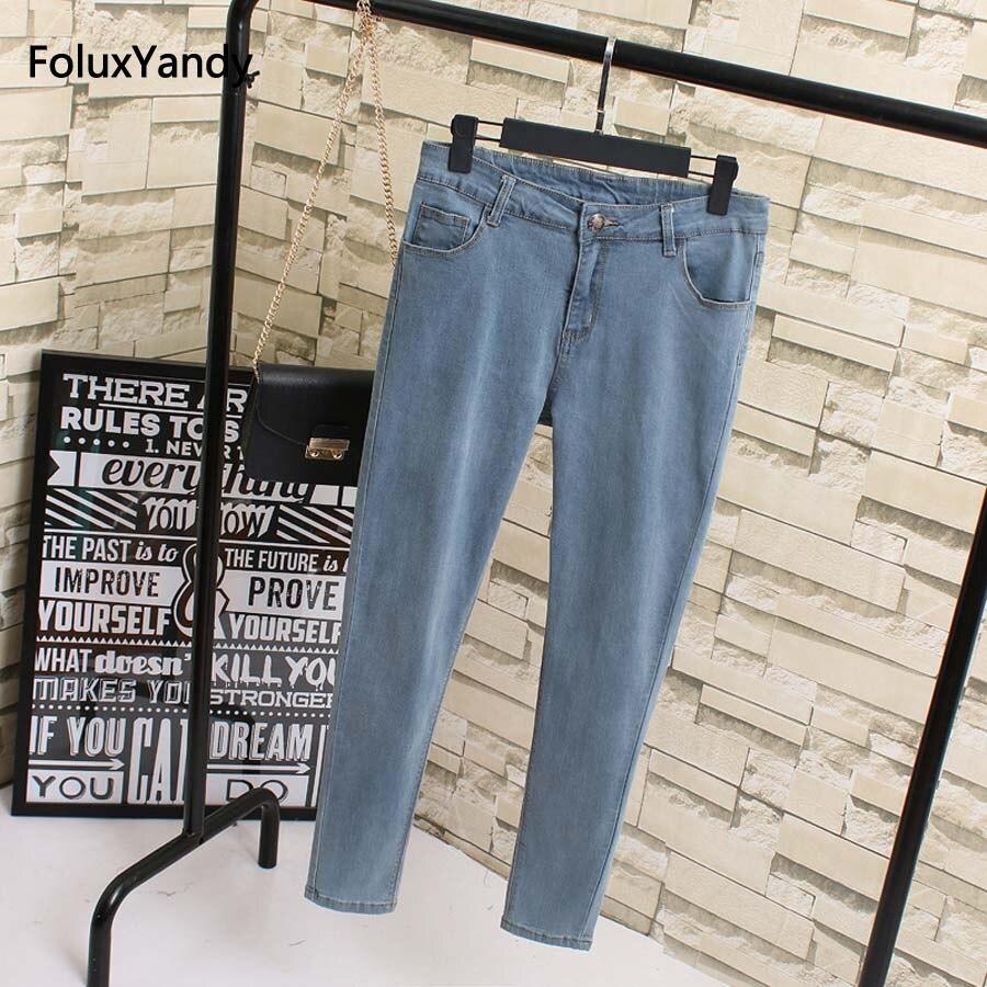 Denim   Jeans   Women Plus Size 4 5 6 XL Casual Trousers Slim Pencil Pants   Jeans   KK1826