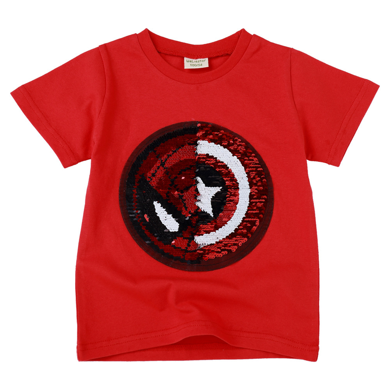 New face magic magic color sequins Spider Man Captain America cartoon fashion T shirt children 39 s shirt boy 2 8 years old in T Shirts from Mother amp Kids