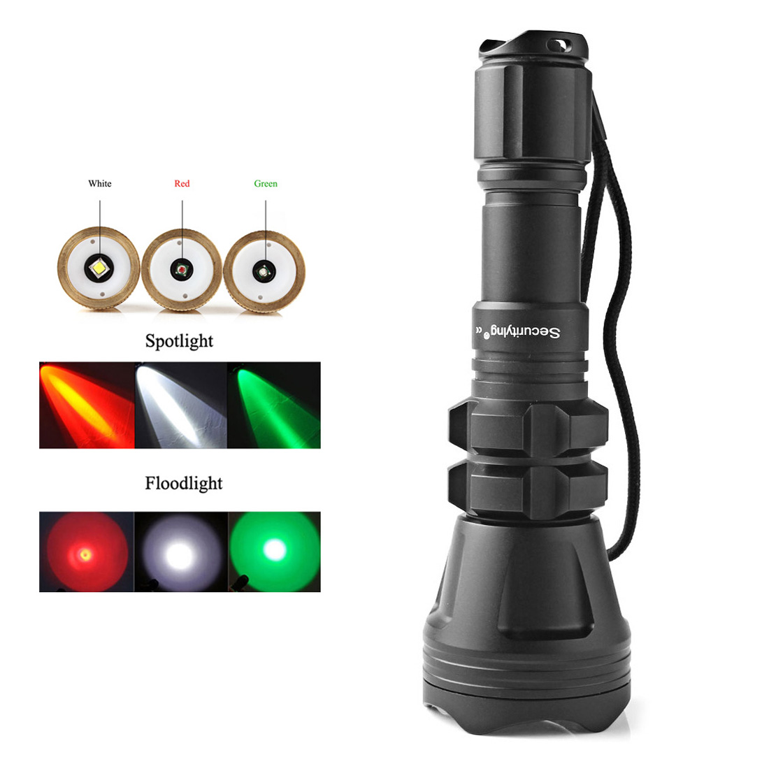 SecurityIng Hunting Flashlight XM-L2 U4 Red / Green / White Led 900LM 5 Modes Zoomable Waterproof Torch + Remote Pressure uniquefire 1405 xpe green red white light led flashlight portable zoomable torch remote pressure to remote control lamp
