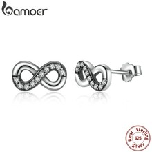BAMOER High Quality 925 Sterling Silver Infinity Love, Clear CZ Knot Earrings for Women Fine Jewelry PAS475(China)