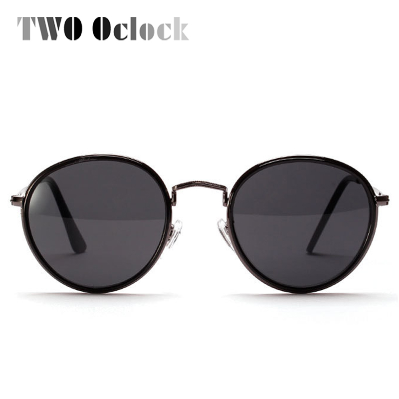 TWO Oclock Brand Designer Round Mirrored Sunglasses Women Wire Frame ...
