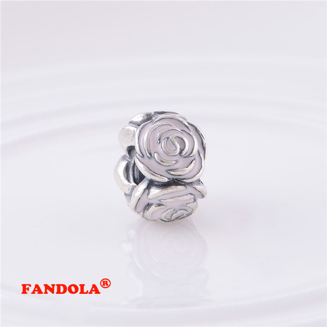 222555c42 Fits Pandora Charms Bracelet 925 Sterling Silver Beads Rose Garden with Pink  Enamel Charm Women DIY Jewelry Making LW364