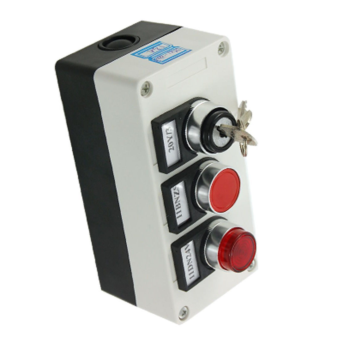 Promotion! 3 in 1 Key Locking Red Light Push Button Switch Station