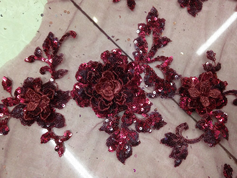 Floral embroidery beads fabric mesh lace sequin d flower