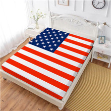Flag Day Bed Sheet Classic American Flag Fitted Sheet Twin Full King Queen Bedclothes National Day Festival Gift Home Textile