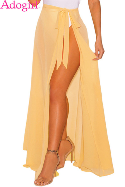 f4e37c4826 Adogirl Lemon Sheer Wrap Maxi Beach Skirt Self Tie High Slit Solid Long  Skirt Women Summer Pareo Beachwear Sarong Club Petticoat