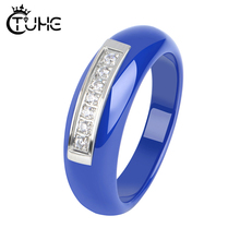 Elegant Style Lady Women Rings Black White Blue Pink Color Alien Never Fade Healthy Ceramic for Daily Collocation