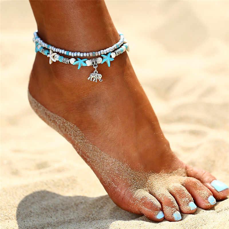 Deniz Kaplumbağası Denizyıldızı Plaj Kabuk bacak Halhal ayak bileği halhal Bilezik Kadınlar Için boho yalınayak sandalet Bilezikler moda takı