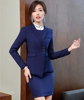 Navy Blue Professional Women Blazers Suits With Jackets And Skirt For Ladies Office Work Wear Clothing Sets Fall Winter Suits