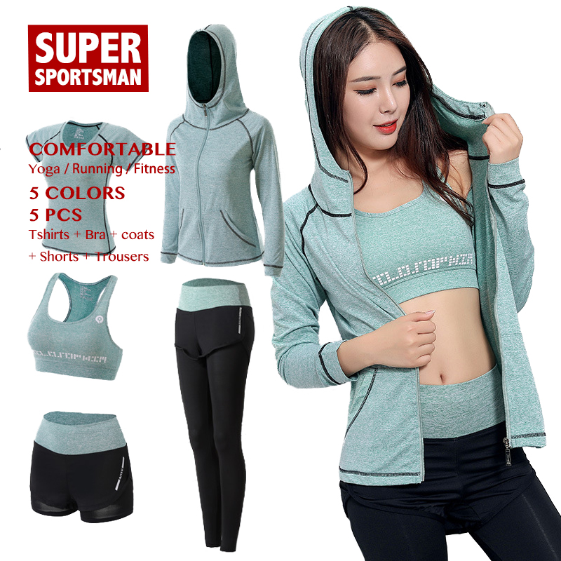 Running Yoga Sets Sport Jogging Suits for Women Sexy Bra Sportswear Fitness Tights Gym Clothing Active Wear Workout Clothes 5pcsRunning Yoga Sets Sport Jogging Suits for Women Sexy Bra Sportswear Fitness Tights Gym Clothing Active Wear Workout Clothes 5pcs