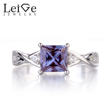 Leige Jewelry Alexandrite Ring Sterling Silver 925 Square Cut Gemstone Engagement Promise Ring for Women June Birthstone