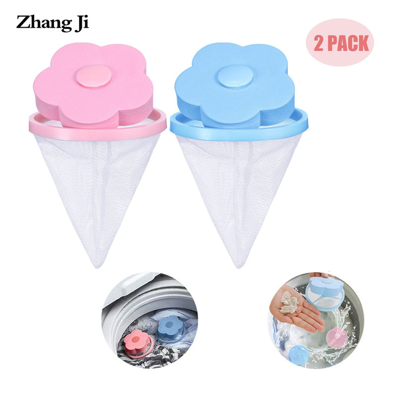 Zhangji 2PC Set Washing Machine Filter Bag Lint Traps Floating Hair Filter Net Pouch Household Reusable Washer Hair Catcher