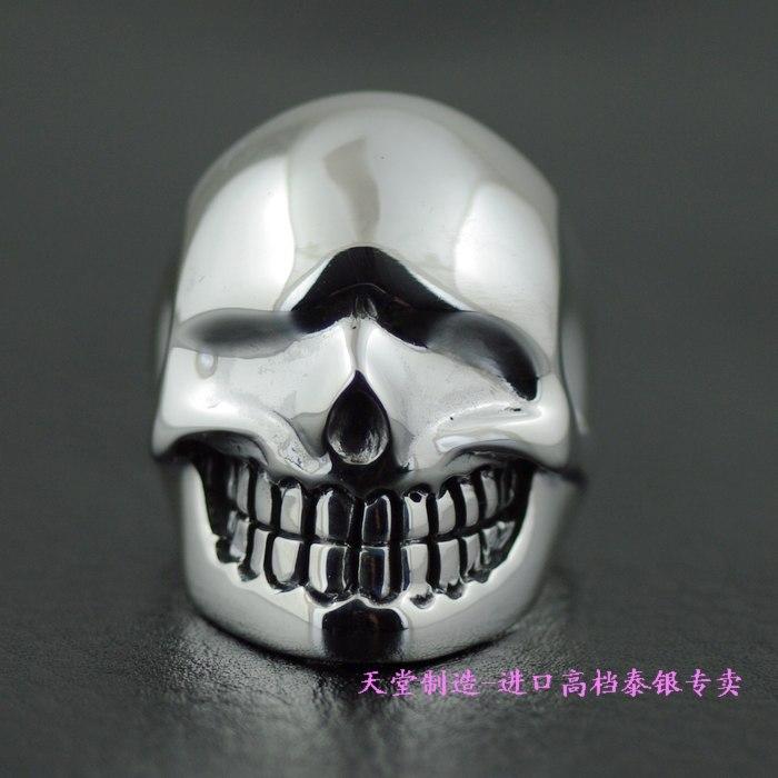 925 pure silver liquid skull ring