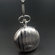 LUXURY SILVER TONE POLISHED WHITE DIAL QUARTZ MEN POCKET WATCH WITH CHAIN Nice Gift Wholesale Price H140