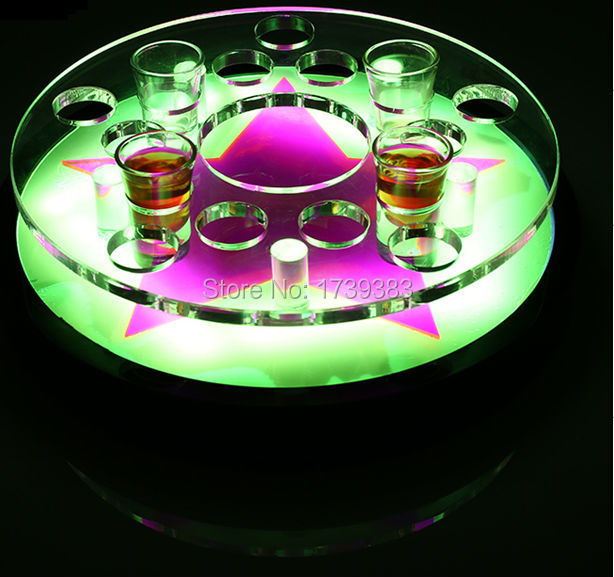 Free Ship 12Holes Shot Glass Bullet Cup drinkware disk Holder LED Color changeable light up Wine rack ice buckets for bars/event lucky shot drinking roulette game 6 cup set