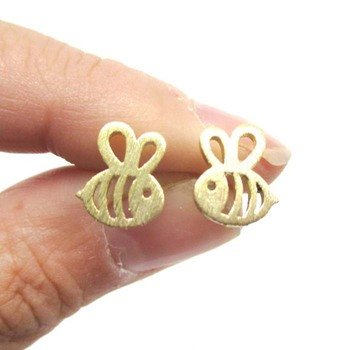 Gold Silver ADORABLE BUMBLE BEE INSECT SHAPED STUD EARRINGS