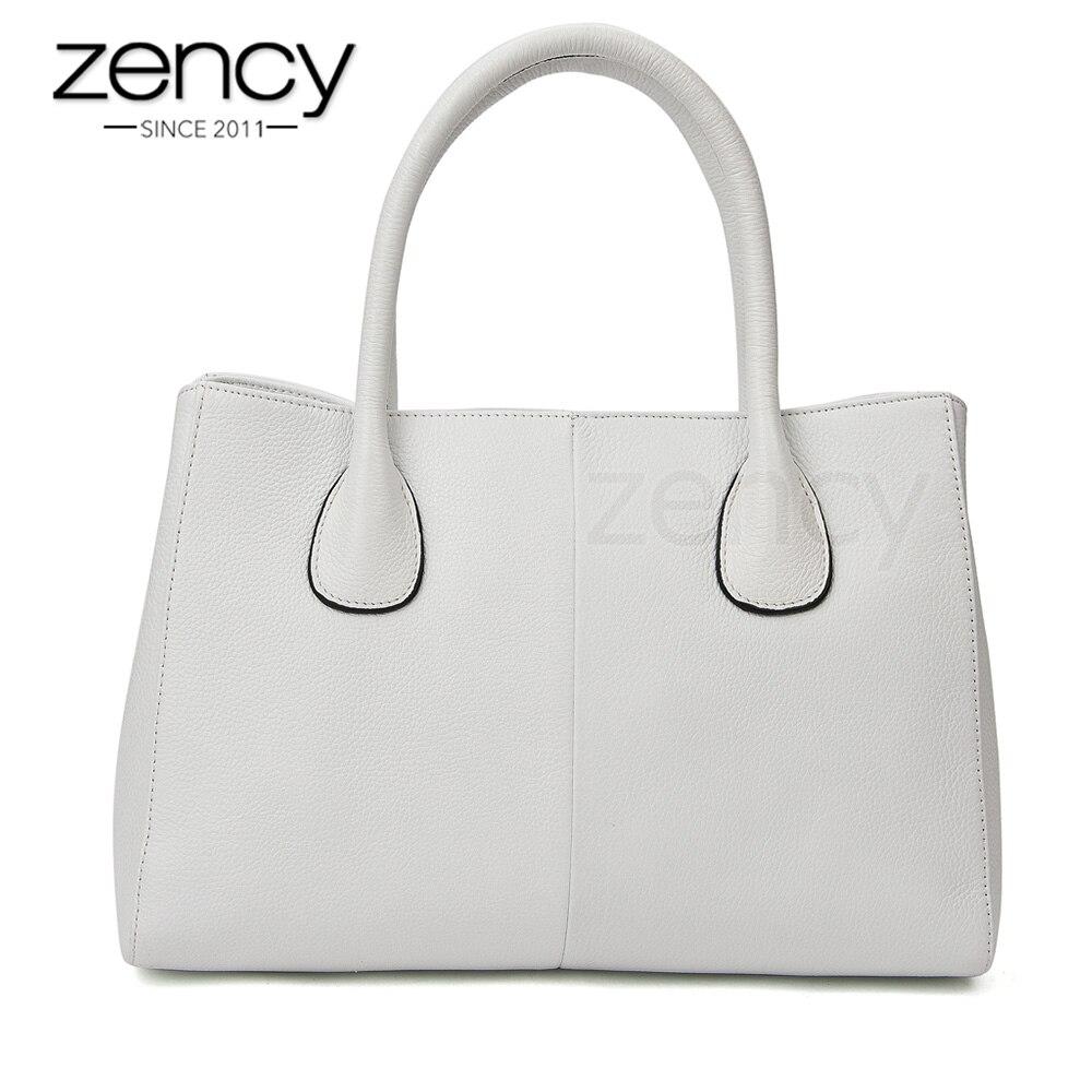 Zency 100 Genuine Leather Fashion Women Handbag Black High Quality Female Casual Tote Bag Office Ladies
