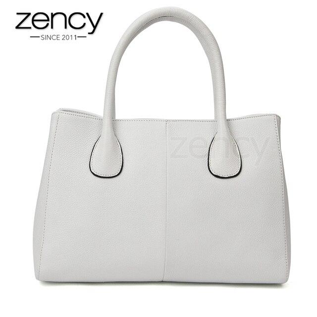 8269c186c Zency 100% Genuine Leather Fashion Women Handbag Black High Quality Female  Casual Tote Bag Office