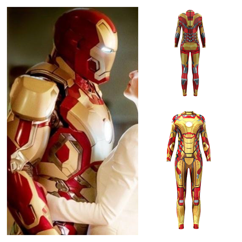 Anime Movie Iron Man Cosplay Costumes Superhero Jumpsuit <font><b>Catsuit</b></font> Women Girls <font><b>Sexy</b></font> Party Halloween Bodysuit Fancy Ball Dress New image