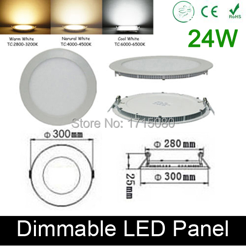 ФОТО High quality dimmable 24W LED panel light round LED Recessed ceiling painel light fixtures 4000K 300*300mm home luminaire lamp