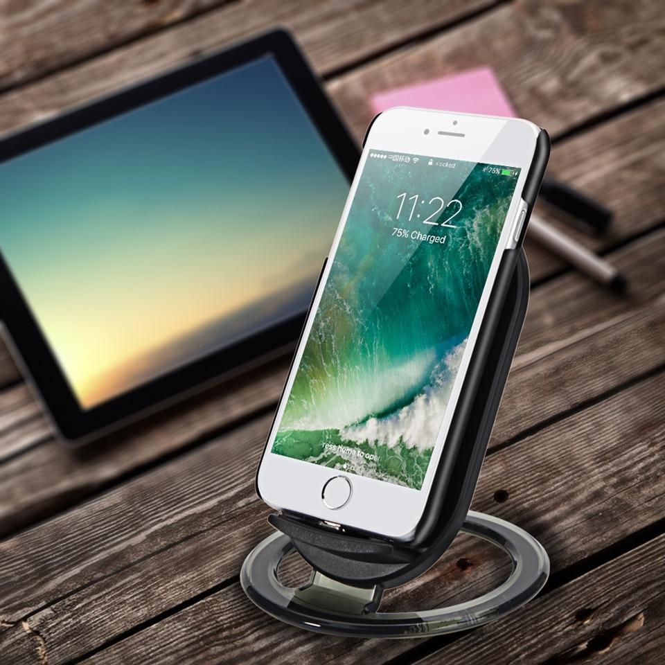 Amstar Qi Wireless Charger 10 W / 7.5 W Dual Coils Charger Cepat - Aksesori dan suku cadang ponsel - Foto 5