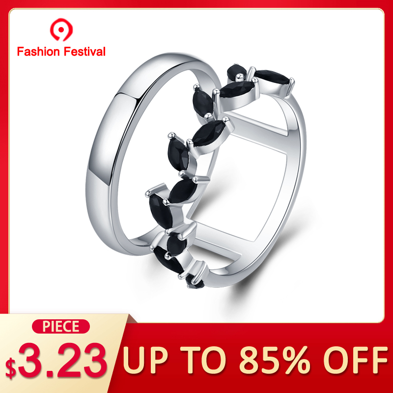 596a0021f6d47 [BLACK AWN] Hyperbole 3.7g 925 Sterling Silver Fine Jewelry Trendy  Engagement Bague Black Spinel Leaf Women's Wedding Ring G001